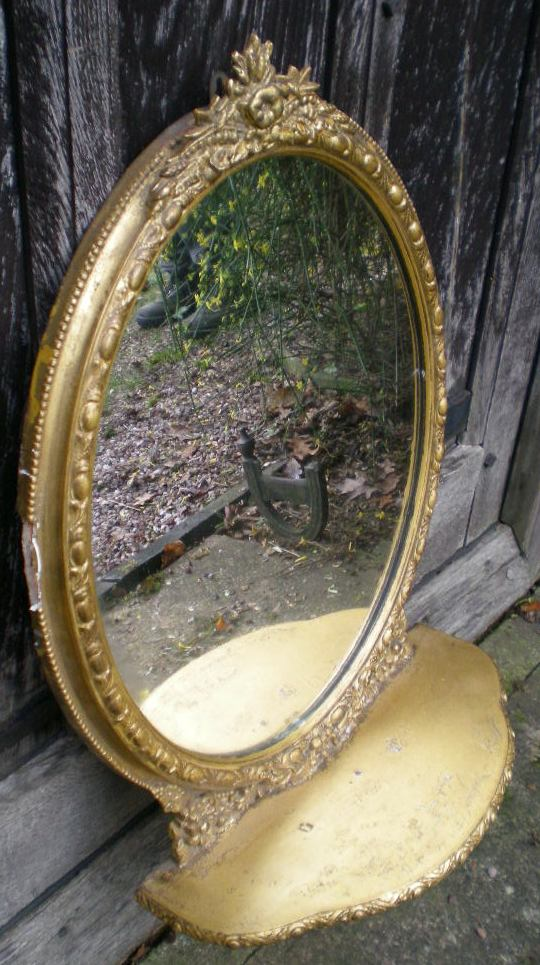 Oval Gilt Frame Wall Mirror With Shelf